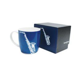 Bone China Mug Silhouette Saxophone Blue